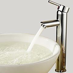 Moderne / Rustik Basin Vandfald with  Keramik Ventil Enkelt håndtag Et Hul for  Krom , Håndvasken vandhane