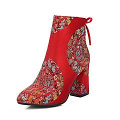 נשים-מגפיים-חומרים בהתאמה אישית-עקבים-אדום-חתונה-עקב עבה