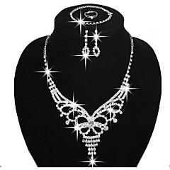 Conjunto de Jóias Sets nupcial Jóias Moda Cobre Strass Prata Chapeada Prata Colares Brincos Anéis Bracelete Para Festa Diário Casual1