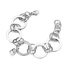 男性用 女性 チェーン&リンクブレスレット 真珠 チタン鋼 ファッション 円形 シルバー ジュエリー 1個