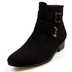 Heren Laarzen Winter Comfortabel Modieuze laarzen PU Casual Lage hak Rits Zwart Bruin Grijs Overige