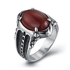 Tyylikkäät sormukset Titaaniteräs Muoti Vintage Personoitu Musta Punainen Korut Päivittäin Kausaliteetti 1kpl