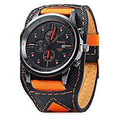 גברים שעון יד קווארץ לוח שנה / עור להקה מגניב יום יומי שחור תפוז כתום שחור לבן