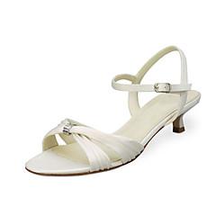 Sandaler-StræksatinDame-Elfenbensfarvet Hvid-Bryllup Fest/aften-Lav hæl