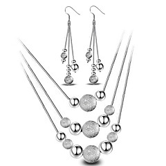 Women's Jewelry Set Drop Earrings Pendant Necklaces Basic Fashion Simple Style Costume Jewelry Sterling Silver Ball Necklaces Earrings For