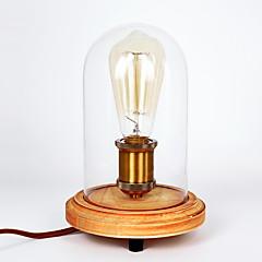 moderne mode træ bordlampe glas glasklokke træbord lampe soveværelse bedside stil