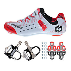 03 Cycling Shoes Unisex Outdoor / Road Bike Sneakers Damping / Cushioning Red / White-sidebike And Black Rock Pedals