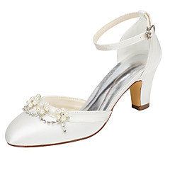 Women's Heels Spring / Fall Others Stretch Satin Wedding / Party & Evening / Dress Chunky Heel Crystal / Pearl Ivory / White Others