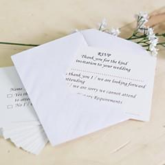 Não personalizado Cartão Raso Convites de casamento Cartões de resposta-25 Peça/Conjunto Cartão de Papel Duro