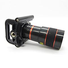 Universal 8X teleobjektív Univerzális fém klip a Mobil - piros + fekete
