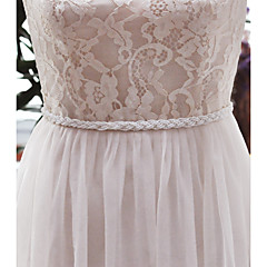 Satin Wedding / Party/ Evening / Dailywear Sash-Imitation Pearl Women's 98 in(250cm) Imitation Pearl