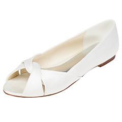 Dame-Strekksateng-Flat hælFlate sko-Bryllup Formell Fest/aften-Hvit Krystall
