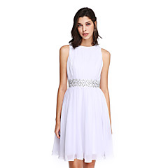 2017 ts couture® cocktail party dress a-lijn juweel knielange chiffon met kralen / draperen