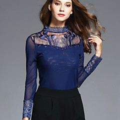 BOMOVO® Damen Ständer Lange Ärmel T-Shirt Blau-B16QAU3