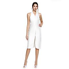 TS Couture® Cocktailparty Jurk - Hoge split Strak/kolom Halter Tot de knie Mikado met Split voorzijde