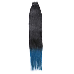 20PCS Tape In Hair Extensions Black To Blue Ombre 40g 16Inch 20Inch 100% Human Hair For Women