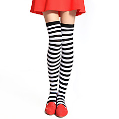 Socks/Stockings Punk Lolita Over Knee Socks White / Black Lolita Accessories Stockings Striped For Women Cotton
