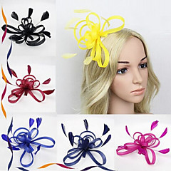 Lady's Linen Feather Fascinator Hat Headband for Wedding Party Hair Comb
