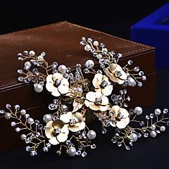 נשים סגסוגת דמוי פנינה כיסוי ראש-חתונה אירוע מיוחד קז'ואל שרשרת ראש קליפס לשיער תפסים לשיער חלק 1