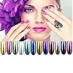 12 barva chrom zrcadlo prášek zlatý pigment ultrajemné prášek prachu na nehty se třpytí na nehty Nail Art flitry dekorace 1g
