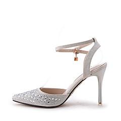 Feminino-Sandálias-Conforto Chanel Tira no Tornozelo-Salto Agulha-Prateado-Gliter-Casamento Casual Festas & Noite