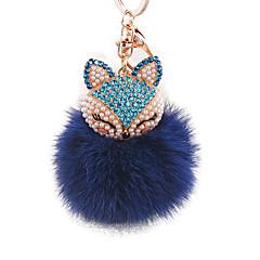 diamant tête de renard fourrure de lapin en alliage de boule sacs de mode porte-clés ornements