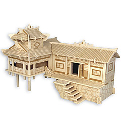 Jigsaw Puzzle Fából készült építőjátékok Építőkockák DIY játékok Kínai építészet Ház 1 Fa Kristály Építő játékok