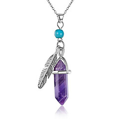 Women's Pendant Necklaces Statement Necklaces Turquoise Amethyst Gem Silver Plated Turquoise Alloy Single Strand Leaf Taper ShapeUnique