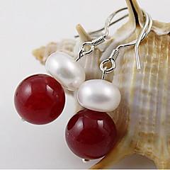 עגילי טיפה שוהם פנינה פנינה ברקת לבן אדום לבן/ ירוק תכשיטים ל חתונה Party יומי קזו'אל 1 זוג