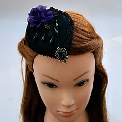 Women's Lace Rhinestone Chiffon Fabric Headpiece-Wedding Special Occasion Fascinators Hats Hair Clip 1 Piece