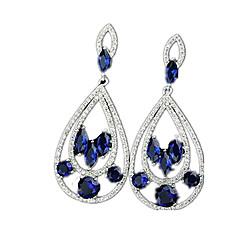 עגילי טיפה זירקון זירקוניה מעוקבת סגסוגת כחול תכשיטים ל Party קזו'אל 1 זוג