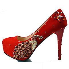 Women's Heels Spring Summer Fall Winter Comfort Novelty Silk Wedding Party & Evening Platform Crystal Sparkling Glitter Crystal Heel Red