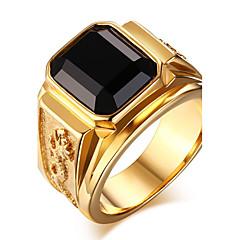Statement-ringe Ring Onyx Agat Titanium Stål Mode Rød Grøn Blå Gylden Smykker Daglig Afslappet 1 Stk.