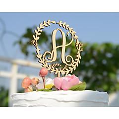 Διακοσμητικό Τούρτας Εξατομικευόμενο Κλασσικό ζευγάρι Μονόγραμμα Ακρυλικό Χρώμιο Χάρτινη Κάρτα Γάμος Επέτειος ΚίτρινοΆνθινο Θέμα Κλασσικό