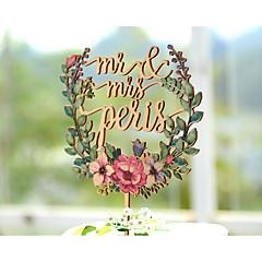 Decorações de Bolo Personalizado Casal Clássico Papel de Cartão Casamento Aniversário Despedida de Solteira AmareloTema Jardim Tema