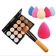 15 Colors Concealer Makeup Palette Wooden Handle BrushSponge Puff Makeup Set Base Foundation Face Cream Care Contouring