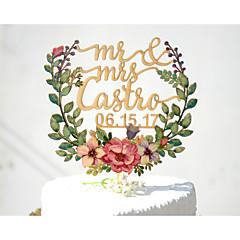 Tortadísz Személyre szabott Klasszikus pár Kártyapapír Esküvő Évforduló Menyasszonyköszöntő SárgaKerti témák Virágos téma Klasszikus téma
