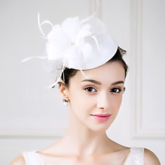 Women's Feather Tulle Flax Headpiece-Wedding Special Occasion Casual Fascinators Flowers 1 Piece