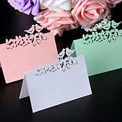 Suportes de Cartões(dePapel Pérola,Branco Rosa Verde) -Tema rústico Não-Personalizado Branco Rosa Verde Pérola