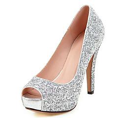 נשים-עקבים-סינטתי-נעלי מועדון-שחור אדום כסוף זהב-חתונה שמלה מסיבה וערב-עקב סטילטו