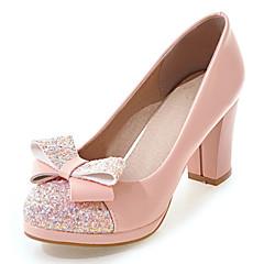 Women's Heels Spring Summer Fall Winter Club Shoes Leatherette Wedding Dress Party & Evening Chunky Heel Block HeelBowknot Sequin Split