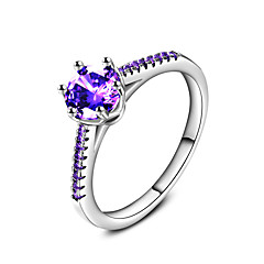 New Fashion Sapphire AAA Purple Zircon Crystal Silver Wedding Engagement Ring for Women Luxury Jewelry