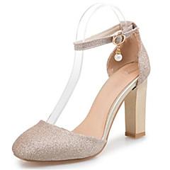 נשים-עקבים-נצנצים חומרים בהתאמה אישית-שפיץ ושני חלקים נעלי מועדון-שחור כסוף זהב-חתונה שמלה מסיבה וערב-עקב עבה