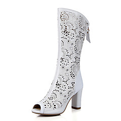 נשים-סנדלים-PU עור-נעלי מועדון-לבן כחול שקד-חתונה משרד ועבודה מסיבה וערב-עקב עבה