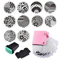 10 szeglemezek 1 nyomólemez 1 lehúzó tároló táska köröm kép bélyeg bélyegzés lemezek manikűr sablont köröm eszközök