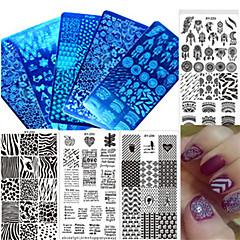 1pcs nuevo acero inoxidable placa de la uña diseño colorido imagen que estampa el pulimento de la manera DIY placa de estampado de uñas de