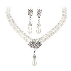 Jewelry Set(Necklace Earrings) Elegant Pearl Silver Vintage Type Party Waterdrop Shape Jewelrysets