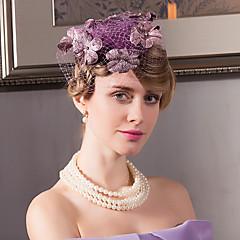Vlas Fluweel Net Helm-Bruiloft Speciale gelegenheden Informeel Kantoor & Cariere Buiten Fascinators Hoeden 1 Stuk