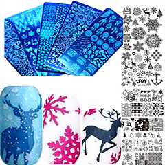 1pcs Sweet Christmas Nail Stainless Steel Stamping Plate Colorful Image Design Beautiful Snowflake DIY Nail Tool Manicure Beauty Stencils XY-Z31-32