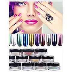 12 väri kromi peili jauhe kulta pigmentti ultrafine jauhepölyä kynsien kimaltelee Nail paljetteja nail art koristeet 1g